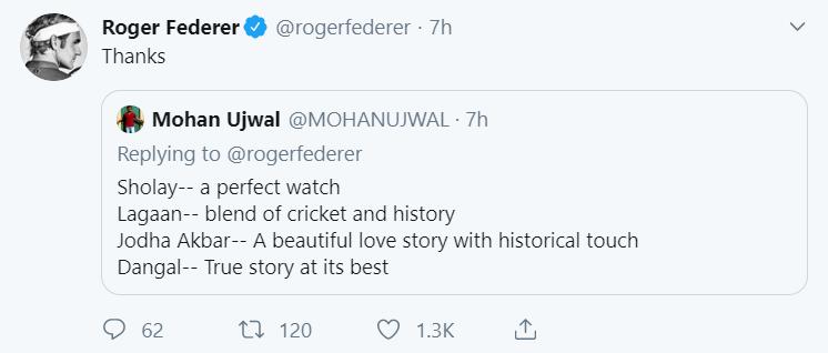 Roger Federer Tweet