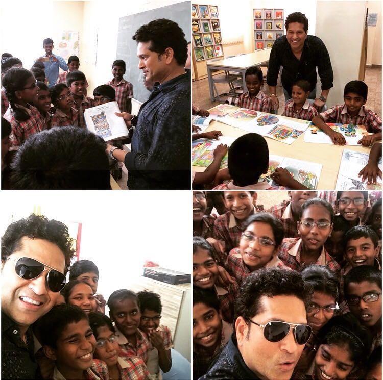 Sachin Tendulkar,Chris Martin,Sachin,Tendulkar,Sachin Tendulkar meets school students,Sachin meets school students,Global Citizen Festival Of India 2016,Global Citizen Festival India