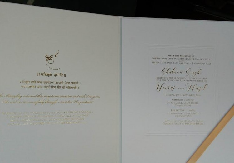Yuvraj Singh and Hazel Keech's wedding,Yuvraj Singh and Hazel Keech's wedding invitation,Yuvraj Singh wedding invitation,Yuvraj Singh wedding,Yuvraj Singh marriage,Yuvraj Singh wedding pics,Yuvraj Singh wedding images,Yuvraj Singh wedding photos