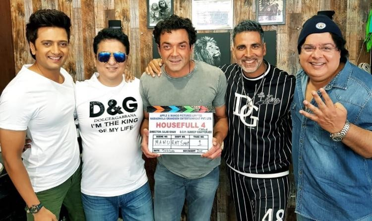 Akshay Kumar,Bobby Deol,Riteish Deshmukh,Sajid Khan,Housefull 4,Housefull 4 movie launch,Housefull 4 movie begins,Housefull 4 pics,Housefull 4 images,Housefull 4 stills,Housefull 4 pictures