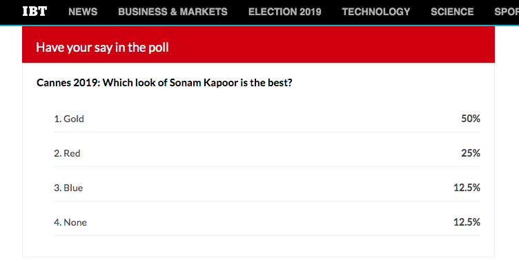 Cannes 2019 poll result Which look of Sonam Kapoor is the best