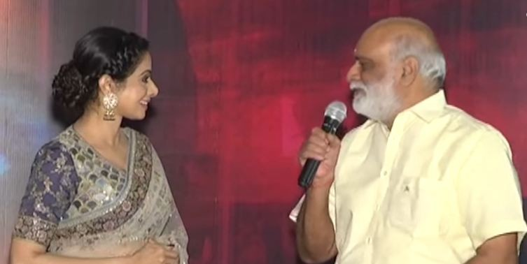 Sridevi with K Raghavendra Rao at Mom trailer launch in Hyderabad