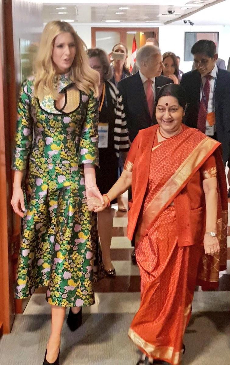 Sushma Swaraj,External Affairs Minister Sushma Swaraj,Minister Sushma Swaraj,US First Daughter Ivanka Trump,Ivanka Trump,Sushma Swaraj meets Ivanka Trump