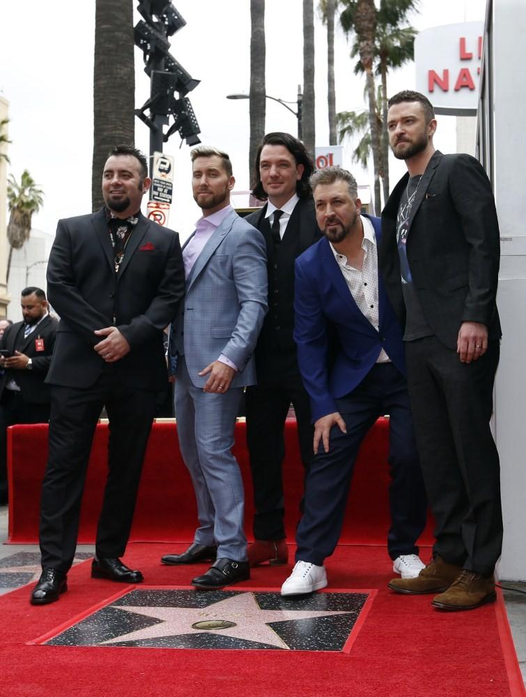 Justin Timberlake,Lance Bass,JC Chasez,Joey Fatone,Chris Kirkpatrick,Hollywood Walk of Fame star,NSYNC,NSYNC reunites