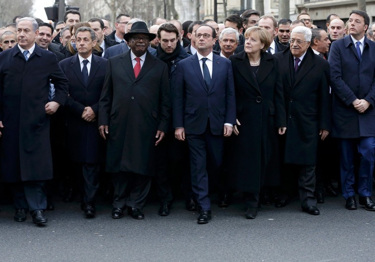 World leaders participate in the Paris march on Sunday.