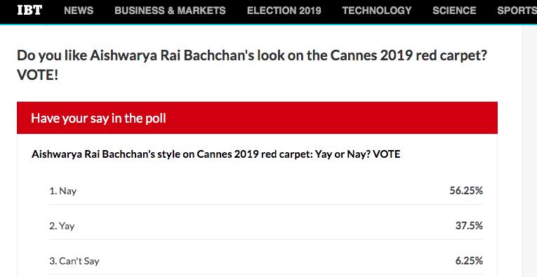 Aishwarya Rai Bachchan at Cannes 2019 poll result