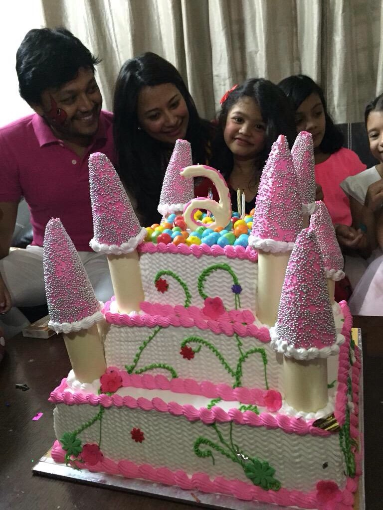 Kannada actor Ganesh daughter photos,Ganesh Shilpa daughter birthday pictures,Ganesh's daughter Charithriya birthday images,Ganesh daughter charithrya birthday pics,Ganesh daughter charithriya birthday images