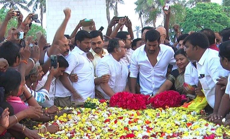 Vishal,Nassar,Sathyaraj,Prabhu,Karthi,Karthik Sivakumar,Nadigar Sangam,MGR memorial,Marina beach,MGR 100,MGR 100 birthday