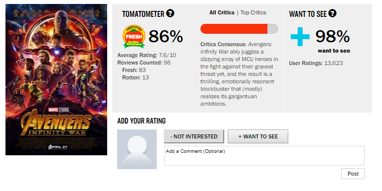 a rotten tomato review on avengers infinity war