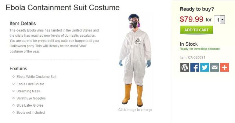 Ebola Halloween Costume: The site BrandsOnSale is selling