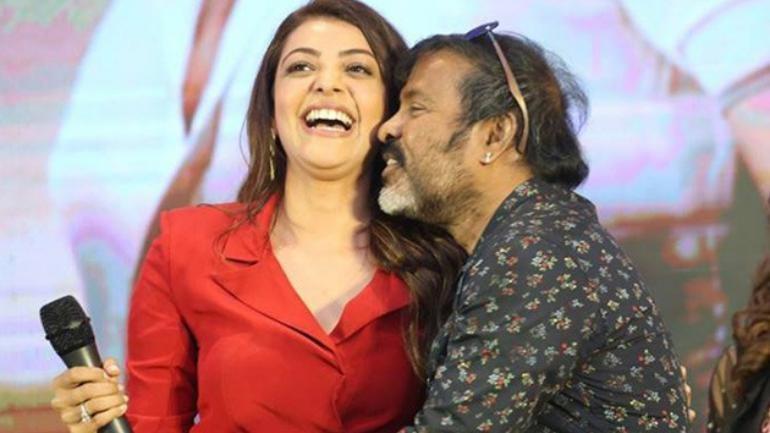 Chota K Naidu kissing Kajal Aggarwal at Kavacham press meet