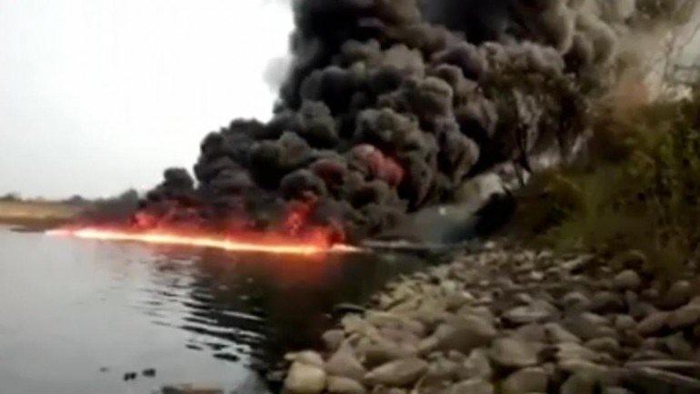 Assam river fire