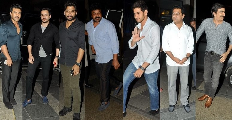 Chiranjeevi Birthday Bash,Chiranjeevi,Chiranjeevi Birthday celebrations,Mahesh Babu,Ravi Teja,Akhil Akkineni,Mahesh Babu at Chiranjeevi Birthday Bash,Ravi Teja at Chiranjeevi Birthday Bash,Akhil Akkineni at Chiranjeevi Birthday Bash