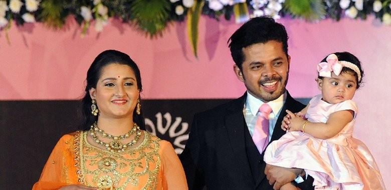 Sreesanth with wife Bhuvneshwari and daughter