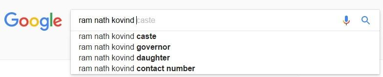 Ram Nath Kovind google search result