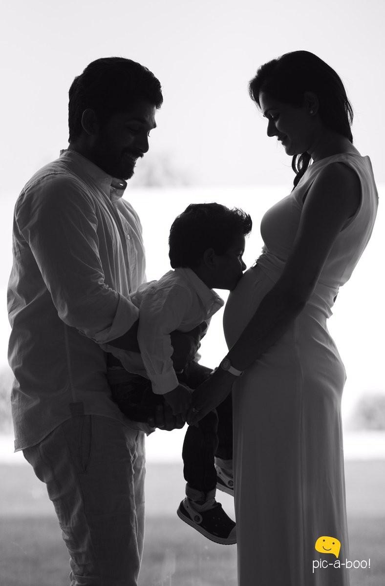 Stylish star Allu Arjun shares Sneha Reddy's baby bump on Twitter.