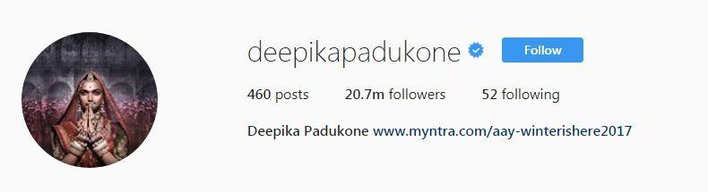 Deepika Padukone Instagram followers