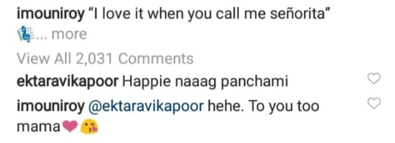 Ekta Kapoor's comment on Mouni Roy's picture