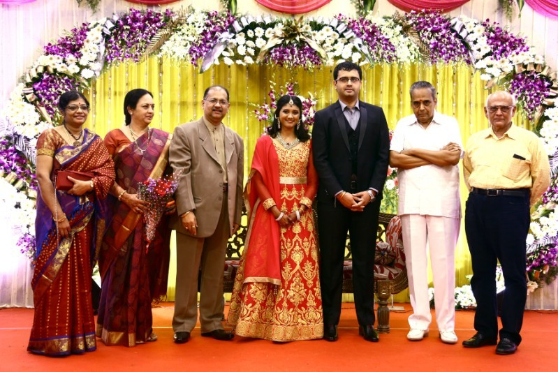 Goundamani,Bhagyaraj,Producer Srikanth son Wedding Reception,Producer Srikanth son marriage Reception,Akshay and Sowmiya Wedding Reception