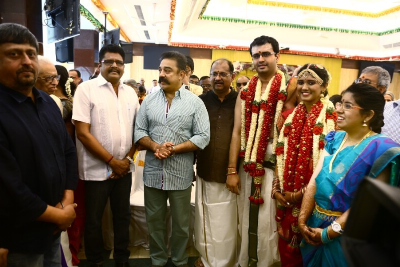 Kamal Hassan,KS Ravikumar,Producer Srikanth son Akshay and Sowmiya Wedding,Akshay and Sowmiya Wedding,Akshay and Sowmiya marriage