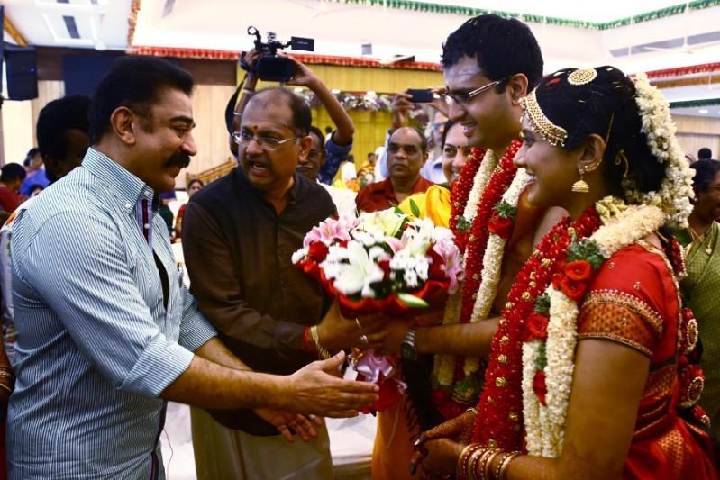 Kamal Hassan,KS Ravikumar,Producer Srikanth son Akshay and Sowmiya Wedding,Akshay and Sowmiya Wedding,Akshay and Sowmiya marriage