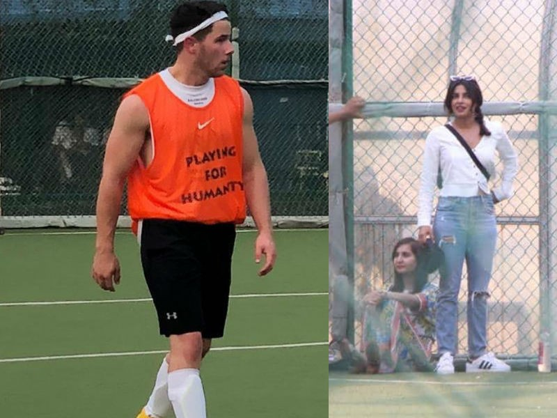 Priyanka Chopra,Priyanka Chopra cheers Nick Jonas,Nick Jonas,Nick Jonas plays football,Nick Jonas at friendly football match,Priyanka Chopra and Nick Jonas,Priyanka Chopra and Nick Jonas pics,Priyanka Chopra and Nick Jonas images,Priyanka Chopra and Nick