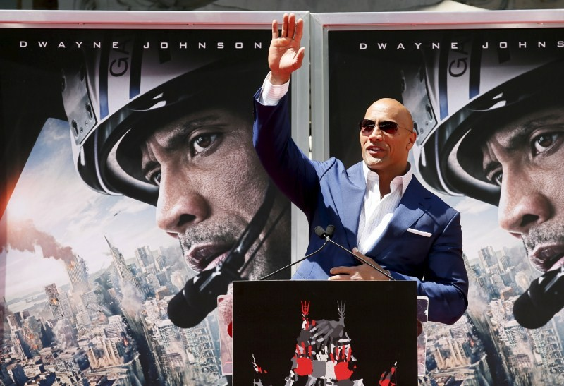 San Andreas star Dwayne Johnson leaves honoured with Handprint Ceremony,San Andreas,the rock,Dwayne Johnson,hollywood movie San Andreas,Dwayne Johnson leaves honoured with Handprint Ceremony,Handprint Ceremony,actor Dwayne Johnson,Dwayne Johnson pics,Dway