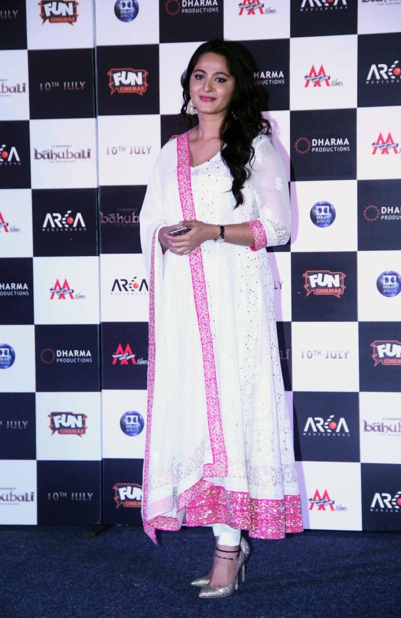 South Indian Actress Anushka Shetty at Baahubali Trailer Launch
