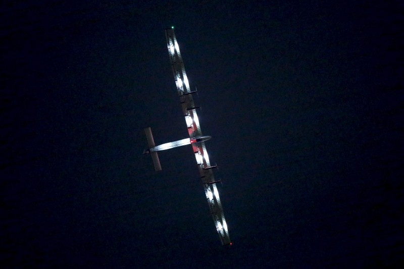 The Solar Impulse 2, a solar powered plane, circles above Nagoya airport in Japan before a planned landing
