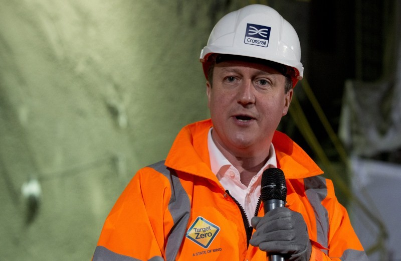 Britain's Prime Minister David Cameron,Construction Site,Prime Minister David Cameron,David Cameron,Crossrail Farringdon station,London