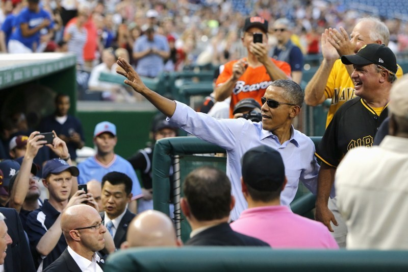 Obama,Barack Obama,Obama attends the Congressional Baseball game,Congressional Baseball game,Baseball Game,Nationals Park,Republicans against Democrats,U.S. President Barack Obama