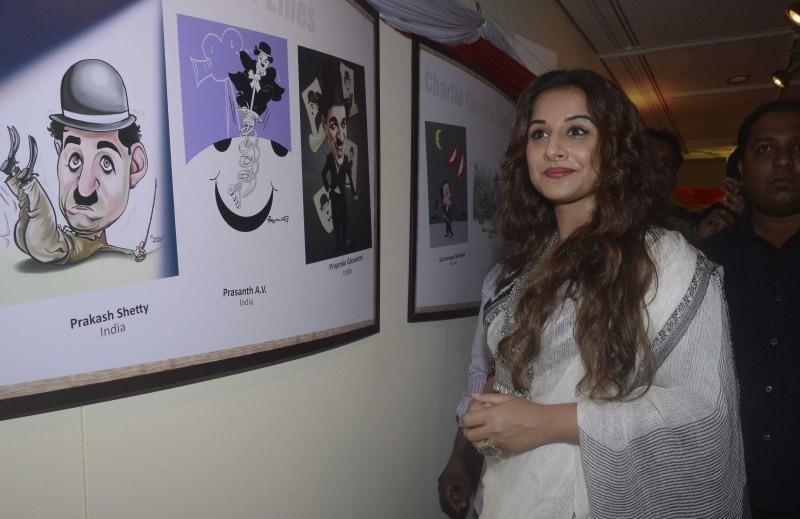 Vidya Balan,Vidya Balan inaugurates exhibition Chaplin Lines,actress Vidya Balan,Vidya Balan pics,Vidya Balan images,Vidya Balan photos,Vidya Balan stills