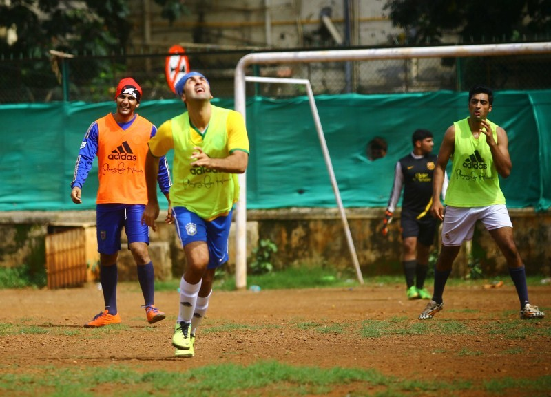 Ranbir Kapoor,Abhishek Bachchan,Ranbir Kapoor,Abhishek Bachchan & others snapped playing football,Ranbir Kapoor snapped playing football,Abhishek Bachchan snapped playing football,celebs playing football,Ranbir Kapoor,Abhishek Bachchan,Ranbir Kapo
