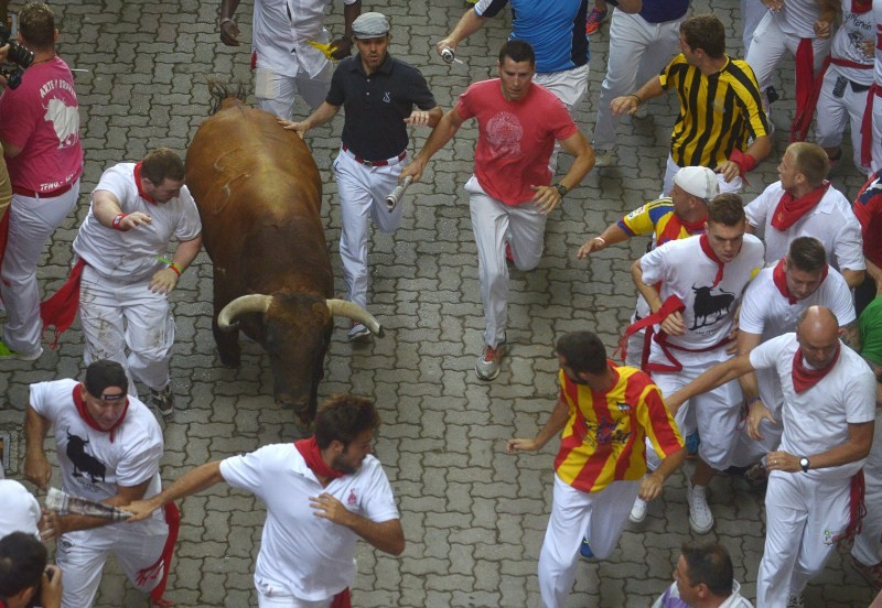 Spain's San Fermin festival,1 person gored,Jandilla fighting bulls,fighting bulls,San Fermin festival