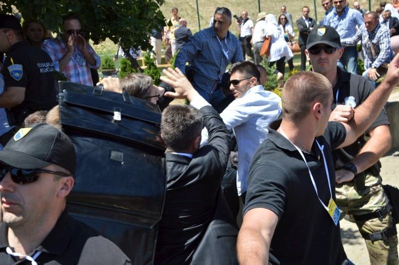 Serbian PM Attacked,Serbian PM Attacked at Srebrenica Ceremonies,Serbian Prime Minister Attacked By Crowds,Serbian Prime Minister,Serbia's interior minister,Nebojsa Stefanovic,scandalous attack,Aleksandar Vucic,Serbia's Prime Minister Aleksandar Vucic,Ser