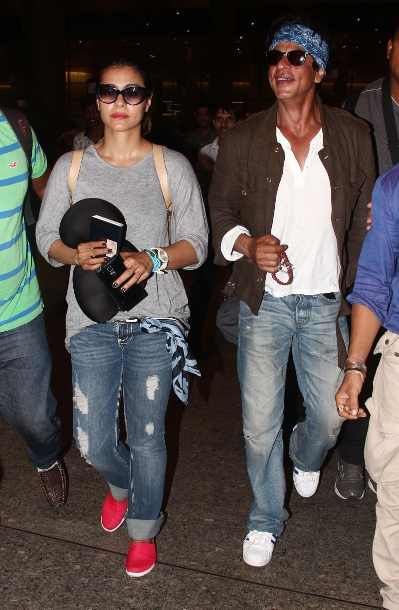 Shah Rukh Khan and Kajol,Shah Rukh Khan and Kajol spotted back in Mumbai after Dilwale wrap-up in Bulgaria,Shah Rukh Khan,Kajol,Shah Rukh Khan spotted at Airport,Kajol spotted at airport,Dilwale wrap-up in Bulgaria,Dilwale wrap-up,Dilwale