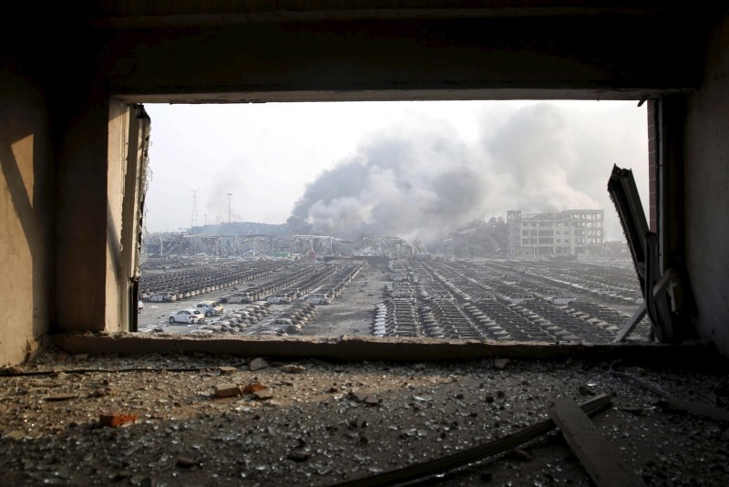 Tianjin Blasts,New Cars Ruined,Ten thousands New Cars Ruined,Damaged cars,Cars Ruined in Tianjin Blasts