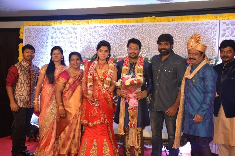 Vijay Sethupathi,Arya,Shanthanu Bhagyaraj,Pandiarajan son Prithiviraj Wedding Reception,Prithiviraj Wedding Reception,Prithiviraj Wedding,Prithiviraj marriage,Pandiarajan,actor Pandiarajan,Prithvi Rajan