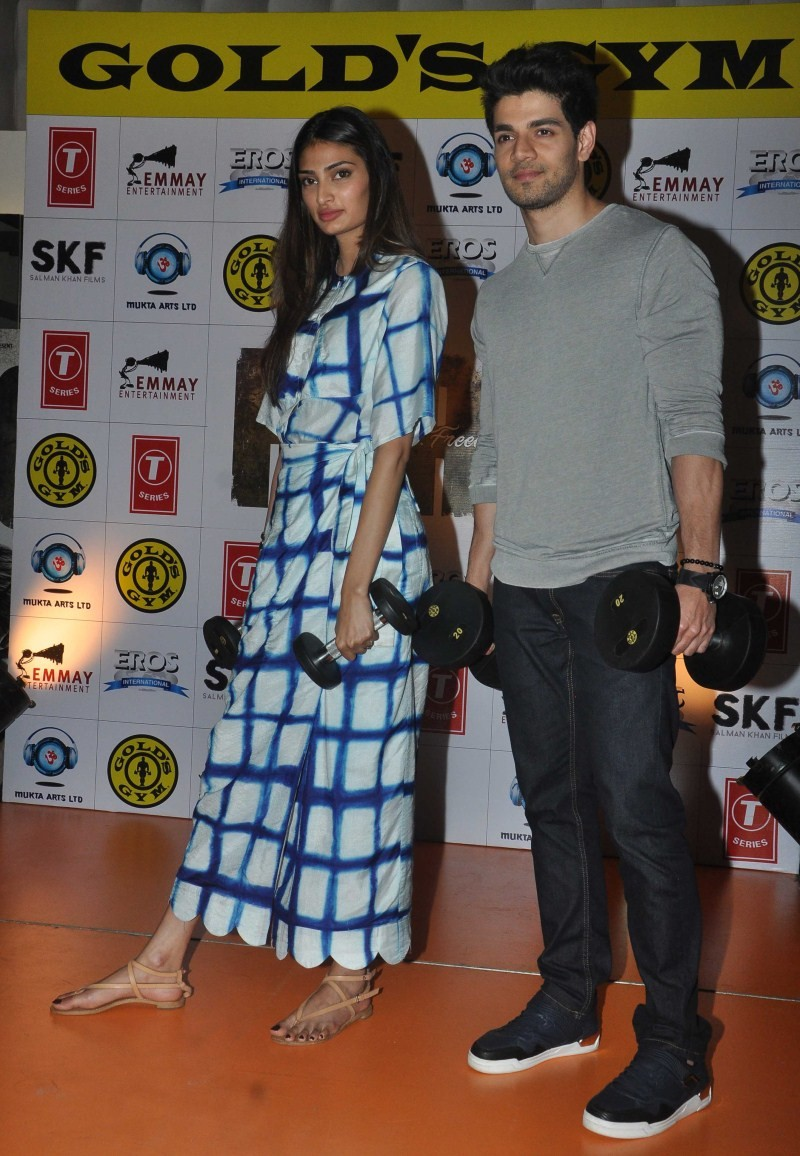 Suraj Pancholi,Athiya Shetty,Suraj Pancholi and Athiya Shetty,Hero Movie promotion at Gold Gym Bandra,Hero Movie promotion,bollywood movie hero