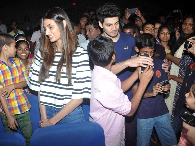 Athiya Shetty,Sooraj Pancholi,Athiya Shetty and Sooraj Pancholi,Hero Special Screening for NGO Kids,Hero Screening for NGO Kids,NGO Kids,Hero Special Screening