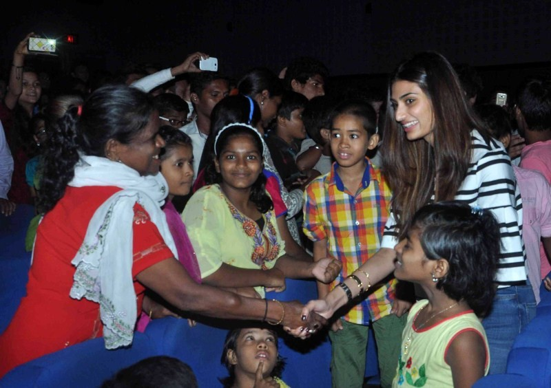 Athiya Shetty,Sooraj Pancholi,Athiya Shetty and Sooraj Pancholi,Hero Special Screening for NGO Kids,Hero Screening for NGO Kids,NGO Kids,Hero Special Screening