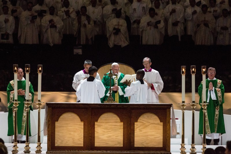 Pope Francis,Pope Francis leads mass,Pope Francis leads mass at Madison Square Garden,Madison Square Garden,Pope Francis at Madison Square Garden