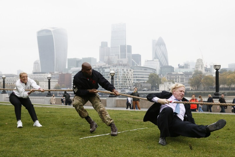 London Poppy Day,London Poppy Day 2015,Boris Johnson,London mayor Boris Johnson,tug of war