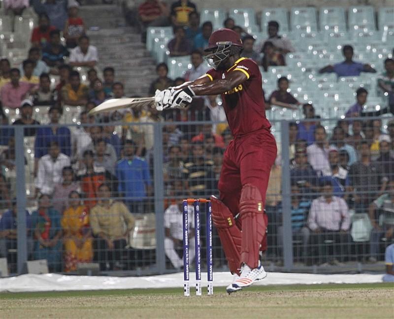 West Indies captain Darren Sammy's unconquered knock of 50 overshadowed Josh Hazlewood's hat-trick as they beat Australia by three wickets in a World Twenty20 warm-up contest at the Eden Gardens here Sunday.