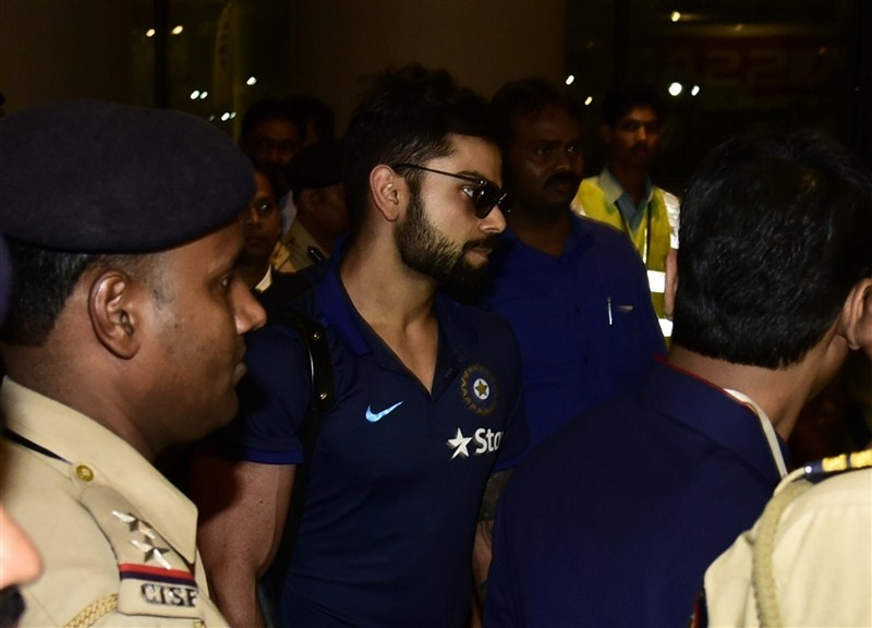The Indian cricket team, led by skipper Mahendra Singh Dhoni, arrived here on Monday evening ahead of the World Twenty20 second semi-final clash against the West Indies on Thursday.