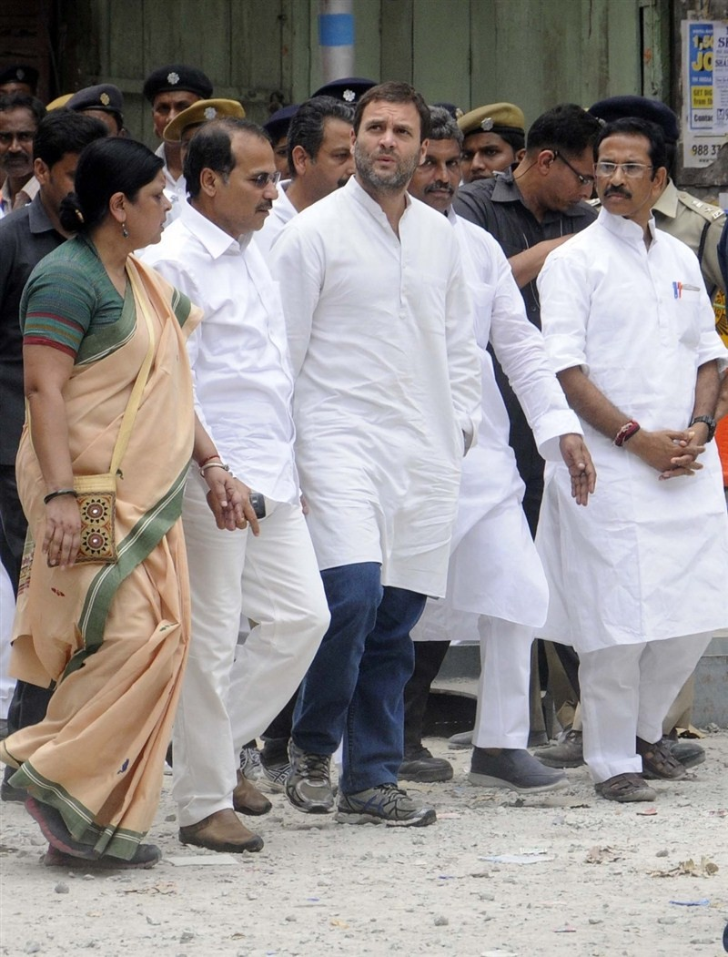 Congress vice president Rahul Gandhi on Saturday visited the city's Posta area where an under-construction flyover collapse killed 24 people and later met the injured in a hospital.