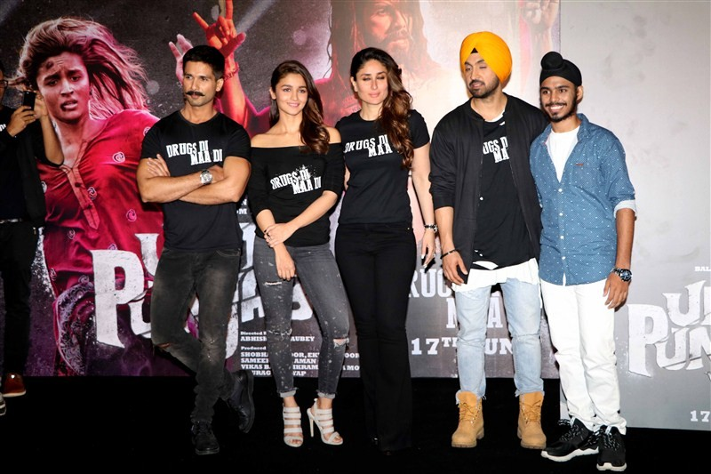 Trailer launch of Udta Punjab held at a suburban theater. Celebs like Shahid Kapoor, Diljit Dosanj, Kareena Kapoor, Alia Bhatt, Madhu Mantena, Vikas Bahl, Vikramaditya Motwane, Abhishek Chaubey and others graced the event.