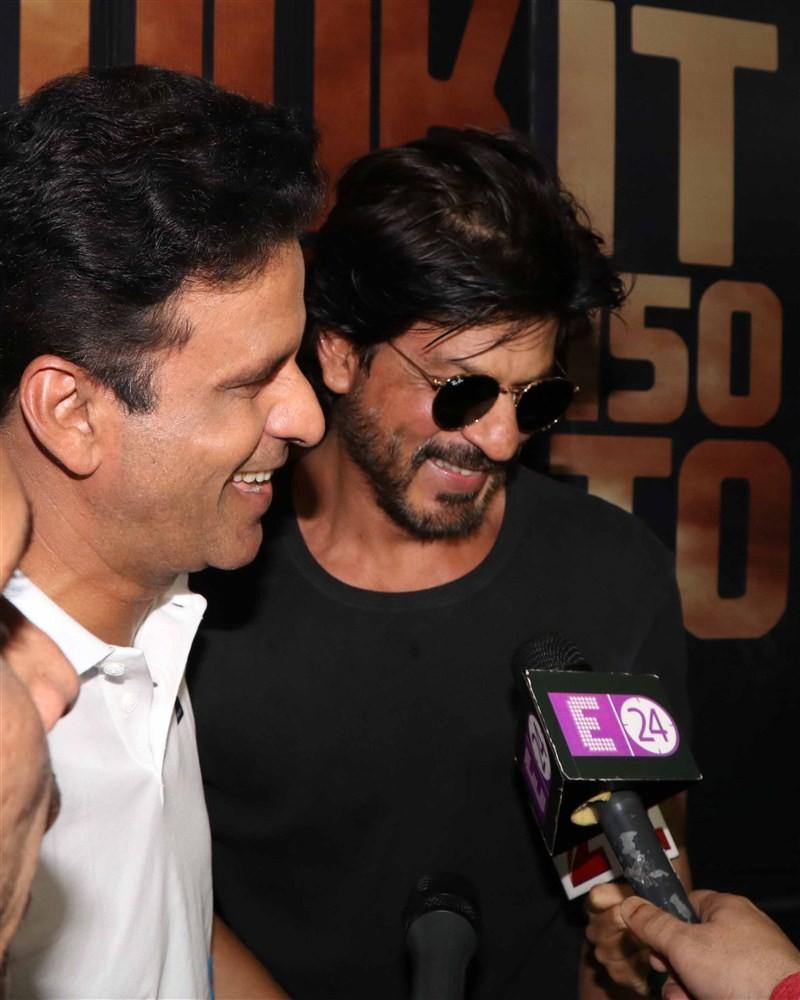 Bollywood Superstar Shah Rukh Khan meets Manoj Bajpayee at mehboob studio.