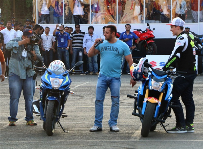 Superstar Salman Khan attended a bike stunt event here and even rode a bike, sending his fans into a frenzy.