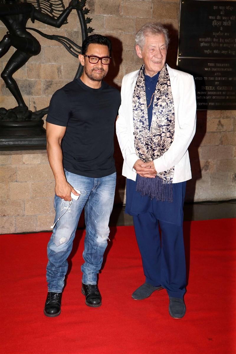 Aamir Khan,Sir Ian McKellen,Aamir Khan with Sir Ian McKellen,MAMI,MAMI event,Aamir Khan and Sir Ian McKellen